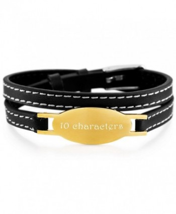 MeMeDIY Stainless Steel Genuine Leather Bracelet Bangle Adjustable - Customized Engraving - gold - CV18653NXQU