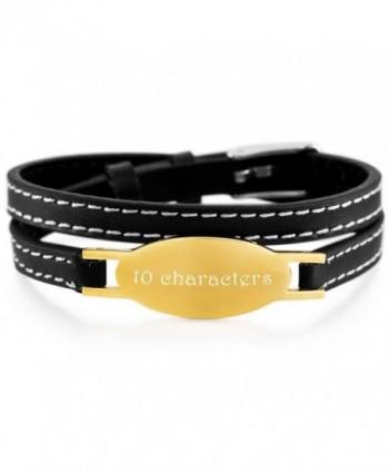 MeMeDIY Stainless Steel Genuine Leather Bracelet Bangle Adjustable - Customized Engraving - gold - CV18653NXQU