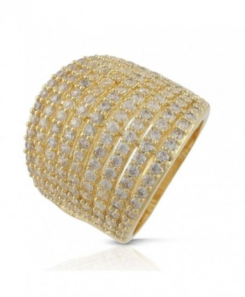 JanKuo Jewelry Gold Plated Mirco Pave Cubic Zirconia Dome Ring - CP127OCA3Y5
