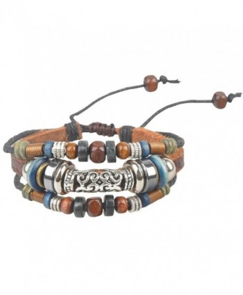 Ancient Tribe Women's Hemp Leather Beads Beaded Bracelet - CP11XPJVWST