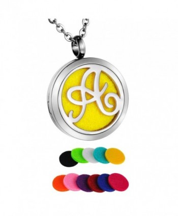 "HooAMI Monogram Aromatherapy Essential Oil Diffuser Necklace Locket Pendant with 24"" Chain + 11 Refill Pads - CS12LKZAYGJ"