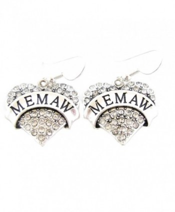 Memaw Silver Plated Clear Crystal Heart Wire Hook Earrings Jewelry Family Gift - CQ11K10W6U3