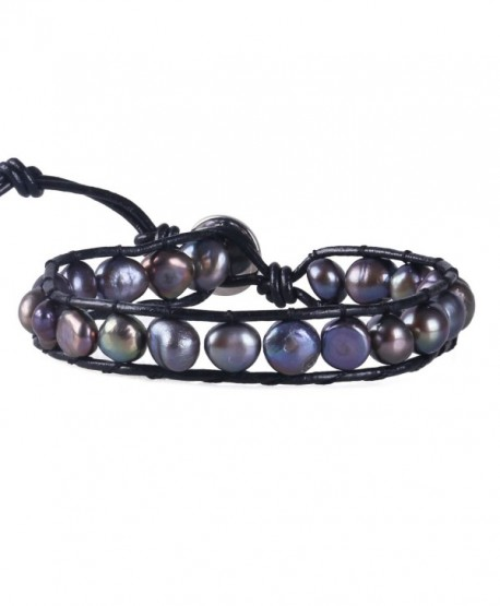 KELITCH Blue Simulation-Freshwater-Pearls Single Wrap Bracelet on Black Leather - C412FTM2P4T