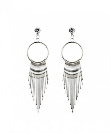 New Women Dangle Tassel Earring Crystal Earrings Eardrop Hoops - Silver - CT1857CMAAT
