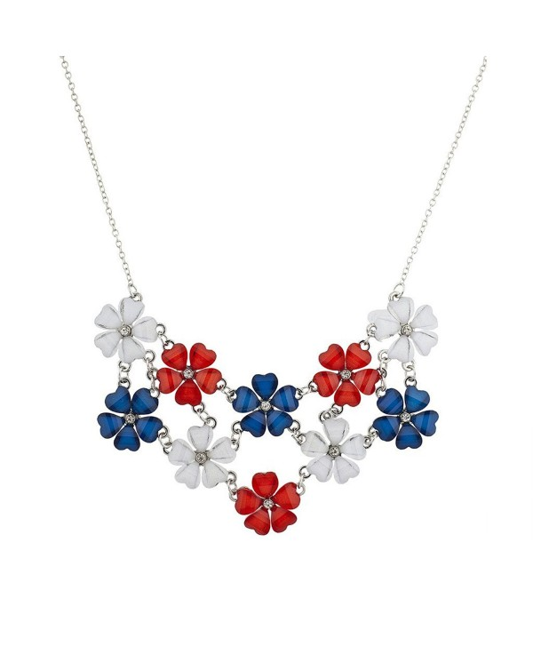 Lux Accessories Silvertone July 4th Flower Floral Mini Bling Statement Necklace - CV12HTCQM87