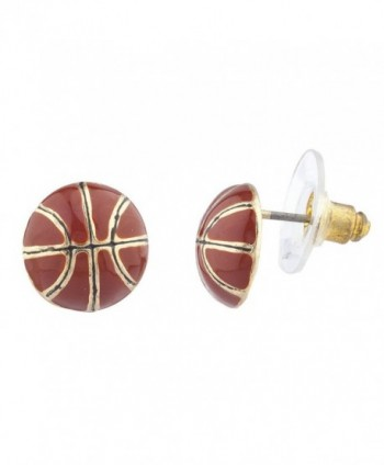 Lux Accessories Goldtone Brown Enamel Sports Basketball Novelty Post Earrings - CT12N5P9U6M