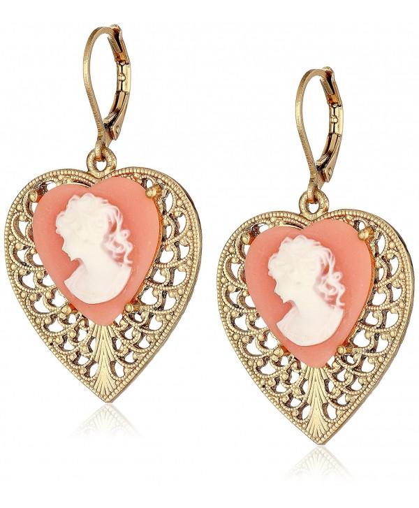 1928 Jewelry Gold-Tone Pink Cameo Heart Overlay Filigree Drop Earrings - CV11NHGRA6R