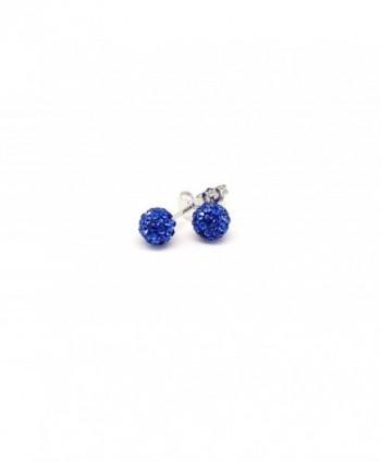 Crystal Ball Stud Earrings 925 Sterling Silver Sapphire Blue Stud Earrings 6 MM - CG12HQBRUZF