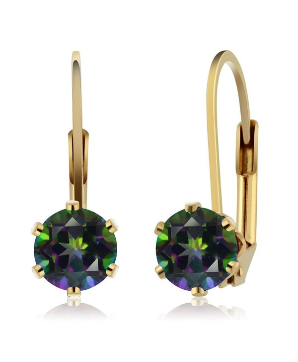 2.00 Ct 6.00MM Round Mystic Topaz Gemstone Gold Plated Leverback Earrings - CF115A83ZG9