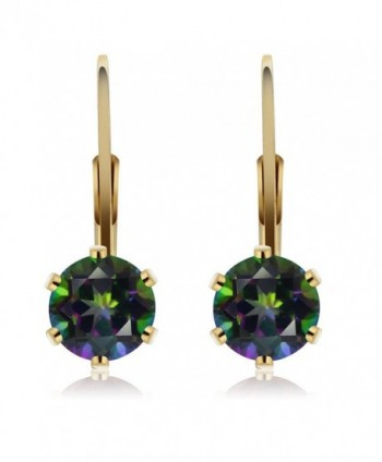 6 00MM Mystic Gemstone Leverback Earrings