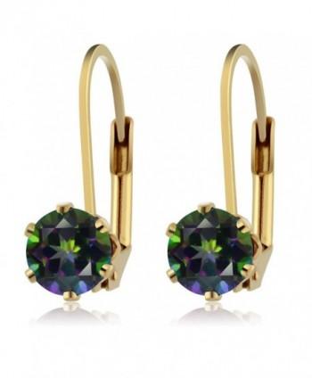 6 00MM Mystic Gemstone Leverback Earrings in Women's Drop & Dangle Earrings