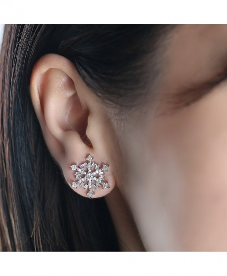 Snowflake 925 Silver Stud Earrings - Simple Shiny Zircon Ear Pendant Jewelry for Lady - CF186085IKD