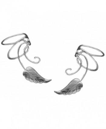 Southwest Leaf Curly Wave Ear Cuff Non-pierced Cartilage Wrap Earrings- a Pair in Sterling Silver - C212O6CKJVA