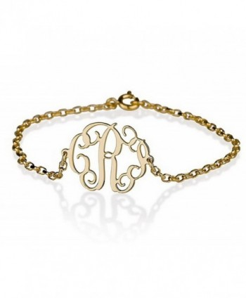 Monogram Bracelet 18k Gold Plated Personalized Initial Name Bracelet - CQ1196LNXB9