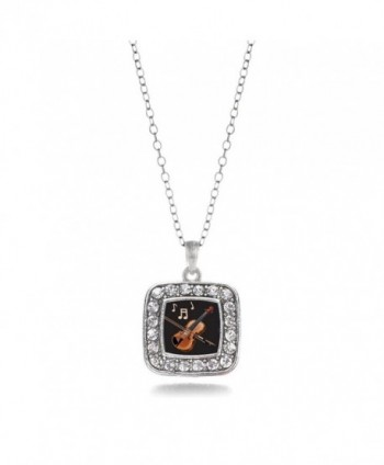 Violin Band Member Charm Classic Silver Plated Square Crystal Necklace - CC11MCHXSTL