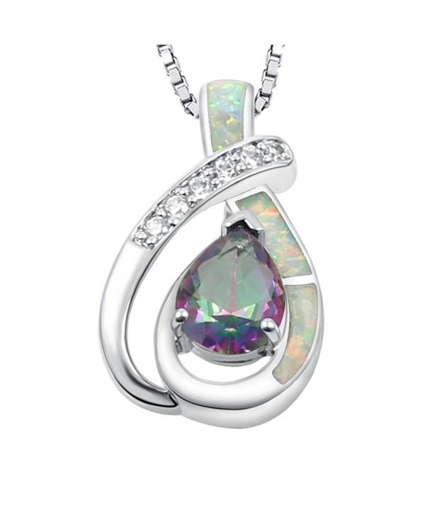 Sinlifu Teardrop Pendants Necklace Jewelry - White Opal+mystic Topaz - C712MYYORWF