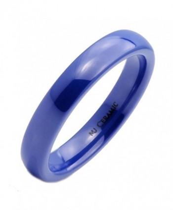 MJ 4mm Blue Ceramic Wedding Ring Classic High Polished Band - CY12O3BOV8Y