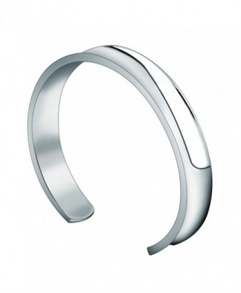 WUSUANED 10mm Stainless Steel Groove Cuff Bracelet Bangle for Women Men - 10mm silver - CE1883RSHYA