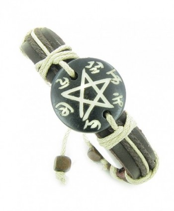 Amulet Leather Bracelet Magic Star Pentacle Symbol Natural Lucky Charm - C1118Y0KEBP