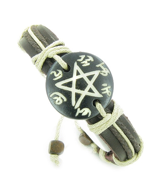 Amulet Leather Bracelet Magic Star Pentacle Symbol Natural Lucky Charm - C1118Y0KEBP