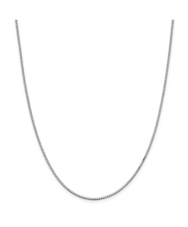 """925 Sterling Silver Solid 1.5mm Polished Box Chain Necklace 7"""" - 30"""" - C911E8756HZ"""