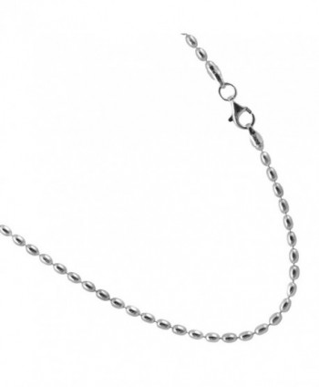 Rice Bead Sterling Silver Chain. 2.4mm by 3.5mm Italian Necklace. 7-8-9-10 Inches - C1185O0CUI5