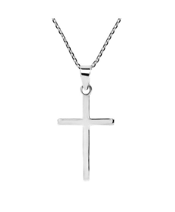 Simple Sleek Christian Cross .925 Sterling Silver Pendant Necklace - CC12MZ3TVYS