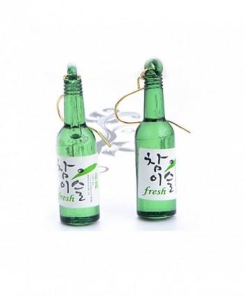 CutieJewelry For Women Girls Cute Beer Bottle Soju Pub Party Unique Bottle Dangle Earrings - Green - CA12JI8L86B