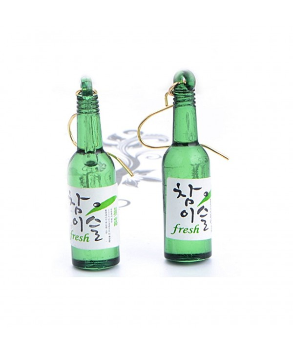 CutieJewelry For Women Girls Cute Beer Bottle Soju Pub Party Unique Bottle Dangle Earrings - Green - CA12JI8L86B