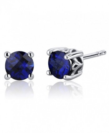 Scroll Design 2.00 Carats Created Blue Sapphire Round Cut Stud Earrings in Sterling Silver - CA116ULJS2L