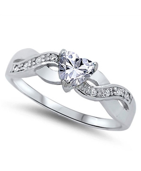 a2fb6a6123711 CHOOSE YOUR COLOR Sterling Silver Infinity Knot Heart Promise Ring - White  Simulated Cubic Zirconia - CQ11Y23TAIF