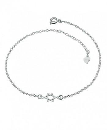 LovelyCharms 925 Sterling Silver Jewish Star Of David Chain Anklet Ankle Bracelets - C412IJ7JO27
