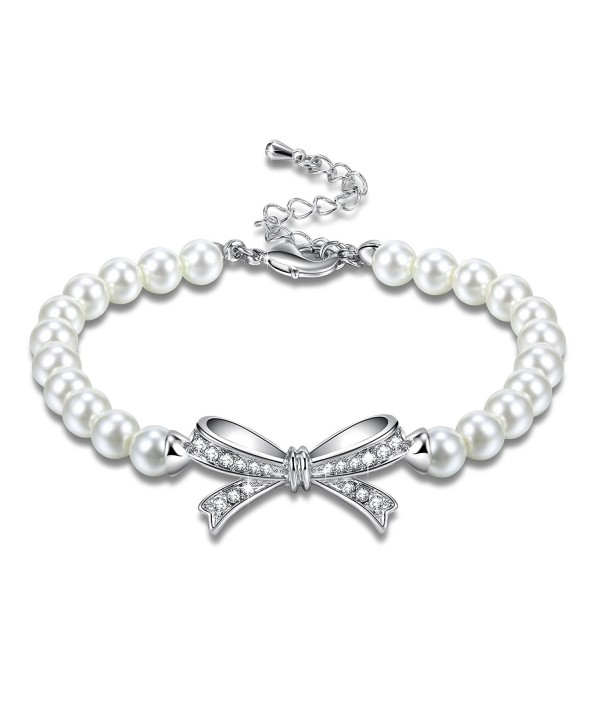 Angelady Bowtie White Pearls Bracelet with AAA Cubic Zirconia Wedding Birthday Anniversary Gifts Idea - CF186YLG5CQ