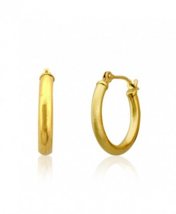 10KT Gold Polished 2X16mm French/Clip Lock Hoop Earrings(16mm Diameter) - CE12BUSY4Q3