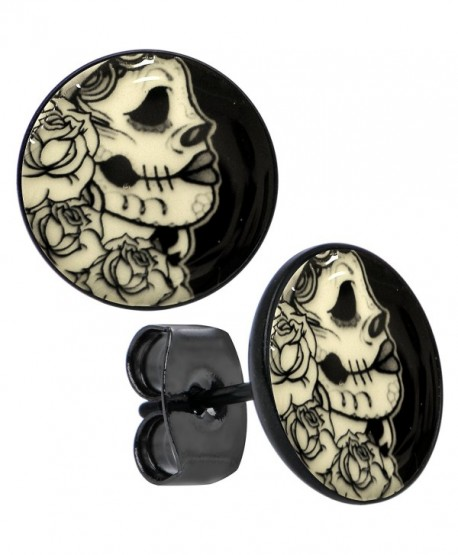 Body Candy Black Anodized Stainless Steel Post Gothic Rose Skull Glow in the Dark Stud Earrings - CU12BNKHMRL