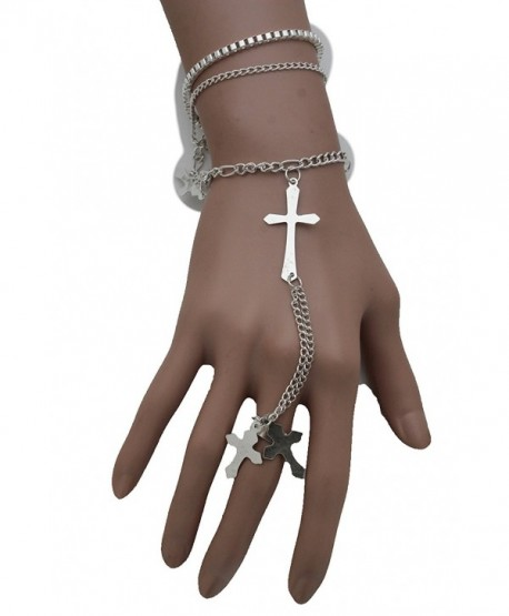 TFJ Women Fashion Jewelry Long Hand Chain Silver Metal Bracelet Slave Ring Cross Charms - C1128RT6I0D