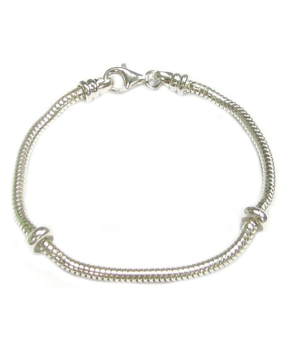 Sterling Silver 3mm Caprice Snake Bracelet with 2 Rubber Stoppers For European Bead Charms - C211GSZLRU5