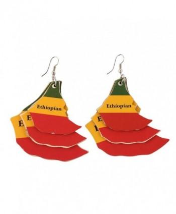 Big Wood Earrings for Women EVBEA Religious Bling Spikes Circle Wooden Earrings - Ethiopian Earring - CF186E7Z4OL