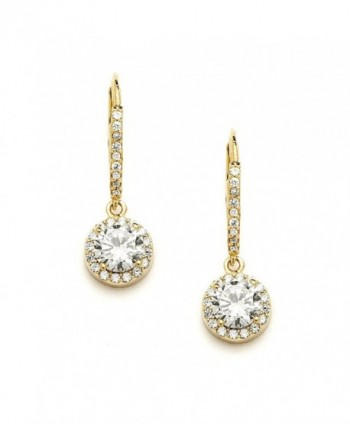 Mariell Delicate Cubic Zirconia Gold Pave Drop Bridal Earrings. Perfect for Brides or Everyday Wear! - CN123A54A2Z