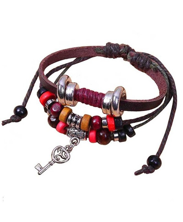 Handmade Leather Bracelet With Charms - C711FGWQN55