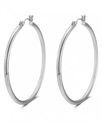 LILIE&WHITE Gold and Patinum Plated Classic Cute Round Hoop Earrings For Women - Platinum - C8184WQN07H