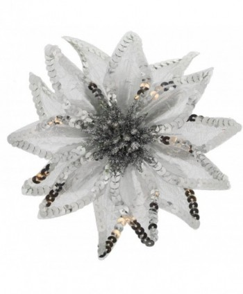 Women's Christmas Pointsettia Sequin Flower Pin- Clip- Hair Tie - Silver - CH12NGEBQ9Y