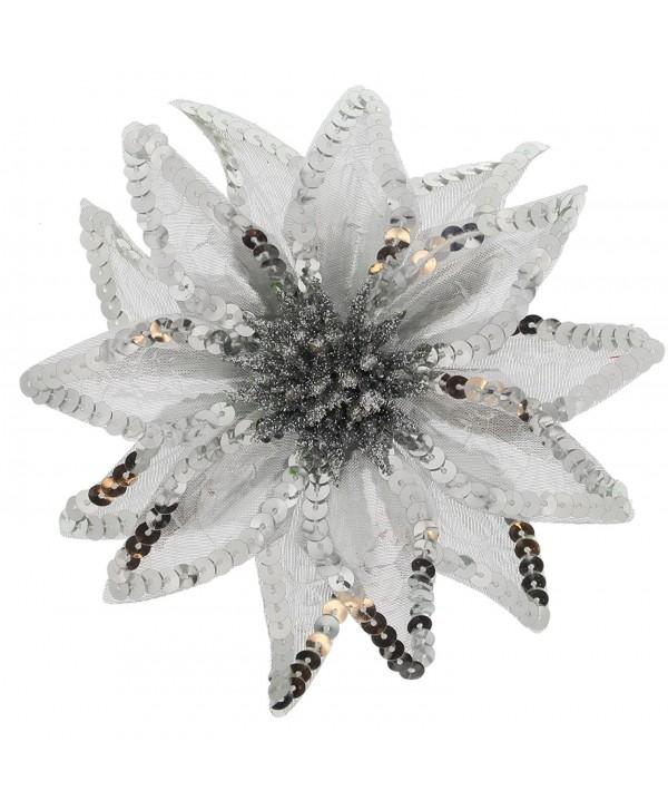 Women's Christmas Pointsettia Sequin Flower Pin- Clip- Hair Tie - Silver - CH12NGEBQ9Y