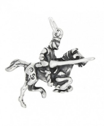 Sterling Silver Oxidized Three Dimensional Knight Riding on Horse Charm - CV1198R6GJH