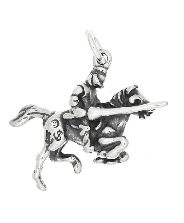 Sterling Silver Oxidized Three Dimensional Knight Riding on Horse Charm - CV1198R6GJH