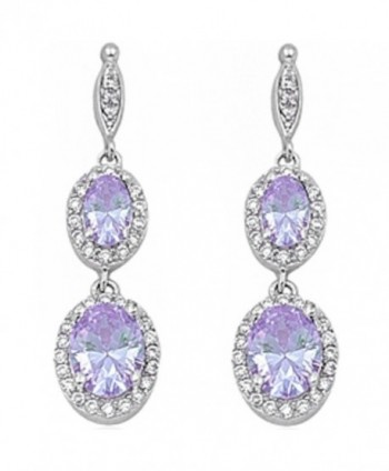 Simulated Gemstone Zirconia Sterling Earrings - Lavender Cubic Zirconia - CC11I36502N