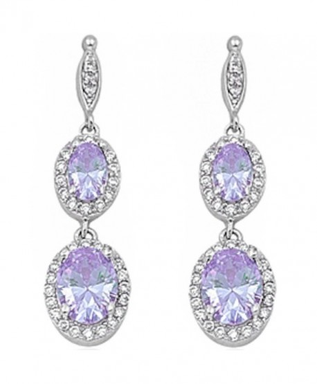 Simulated Gemstone Zirconia Sterling Earrings - Lavender Cubic Zirconia - CC11I36502N