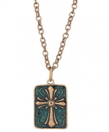 "Ganz Antiqued Copper-Tone & Green Enamel Cross Necklace on 18"" Link Chain - CJ18048K40G"