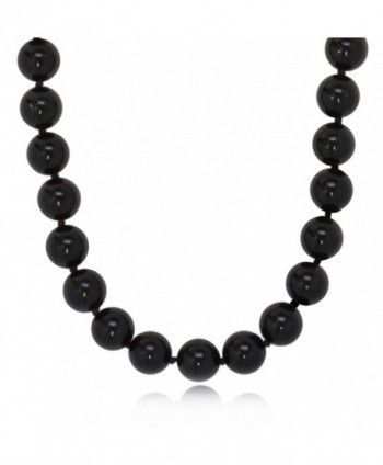 ISAAC WESTMAN 8mm Polished Black Onyx Necklace | .925 Sterling Silver - C1182GGXCDU