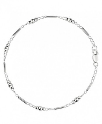 Fancy Link With Faceted Beads Chain Anklet In Sterling Silver - C6119T8ADS9